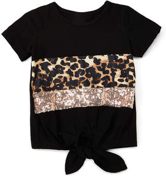 Royal Gem Girls' Tee Shirts Black - Black Cheetah & Sequin Color Block Tie-Front Tee - Infant, Toddler & Girls