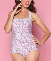 Bettie Page Purple One-Piece Swimsuit - Plus