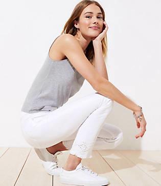LOFT Petite Eyelet High Waist Skinny Crop Jeans in White