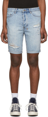 Ksubi Blue Denim Chopper Shorts
