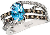 LeVian Chocolatier Ocean Wave Vanilla Diamond, Chocolate Diamond, Aquamarine and 14K White Gold Ring
