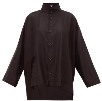eskandar Band-collar Oversized Wool-blend Jacquard Jacket - Womens - Black