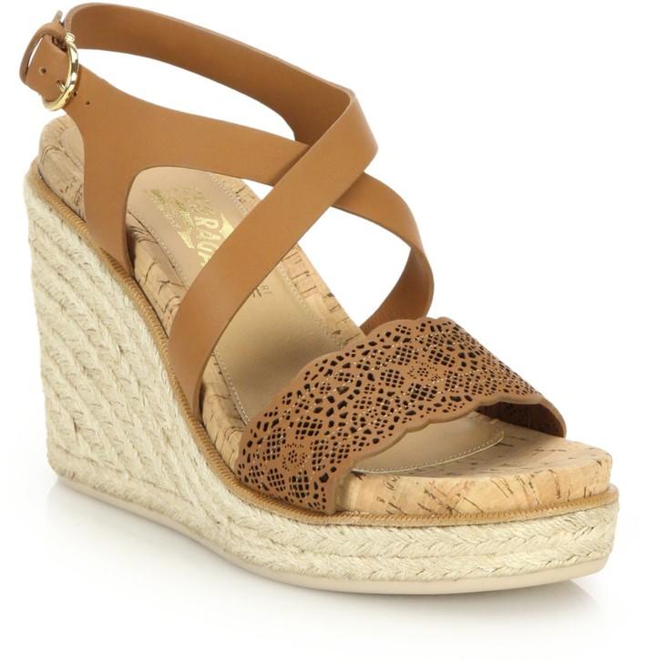 a72eeb10035 Gioela Raffia & Leather Platform Wedge Sandals