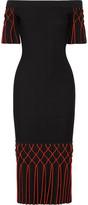 Jonathan Simkhai Off-the-shoulder Pleated Stretch-knit Midi Dress - Black
