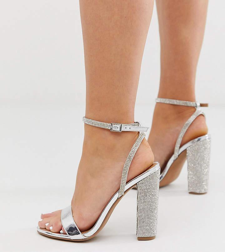 3e66fed6430 Design DESIGN Wide Fit Hot Step embellished block heeled sandals in silver