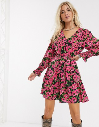 Only mini dress in bold floral print