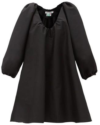 BERNADETTE George Gathered V-neck Taffeta Mini Dress - Black