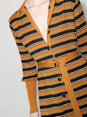Chloé Yellow Striped Knit Midi Shirt Dress