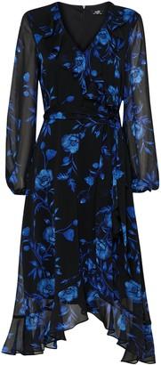 Wallis Blue Floral Print Ruffle Midi Dress