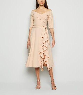 New Look Missfiga Ruffle Wrap Bardot Dress