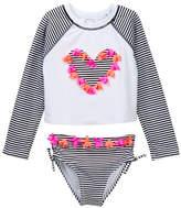 Flapdoodles Black/White Striped Rash Guard Set (Toddler Girls)