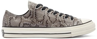 Converse Chuck 70 Low Archive Reptile snake print leather sneakers in gray