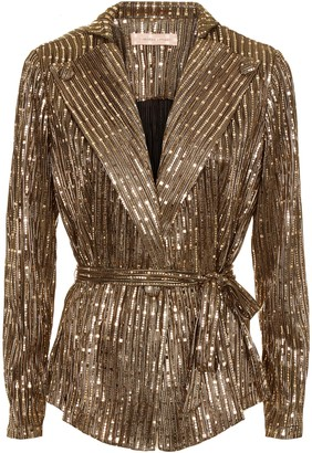 Traffic People Colby Metallic Long Sleeve Jacket In Bronze