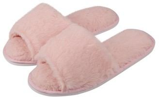 Ruslippers Women's Soft and Cozy Slip-On Plush Luxury Spa Slippers With Open Toe Lightweight Fit (Pink) (US Women's Size 9)