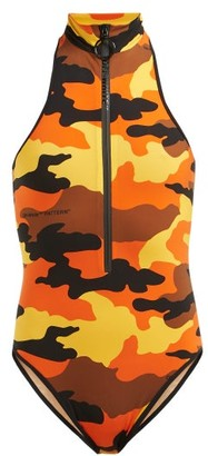 Off-White Camouflage-print Stretch-jersey Bodysuit - Womens - Brown Multi
