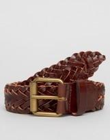 New Look Woven Leather Belt In Dark Brown