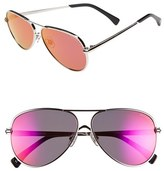 Wildfox Couture Women's 'Airfox Ii Deluxe' 57Mm Aviator Sunglasses - Silver/ Purple Mirror
