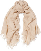 Chan Luu Polka-dot Cashmere And Silk-blend Scarf - Beige