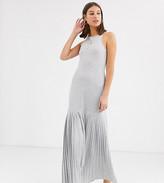 Asos Tall DESIGN Tall gray marl pleated hem maxi dress