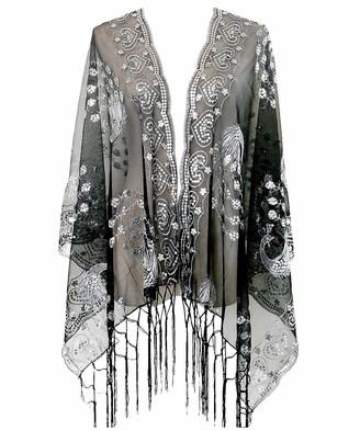 KELAND Women's Gatsby 1920s Scarf Glitter Mesh Sequin Wedding Cape Shawl Fringed Evening Wrap (Gold and Black)