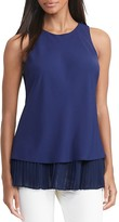 Lauren Ralph Lauren Pleated Hem Crepe Top