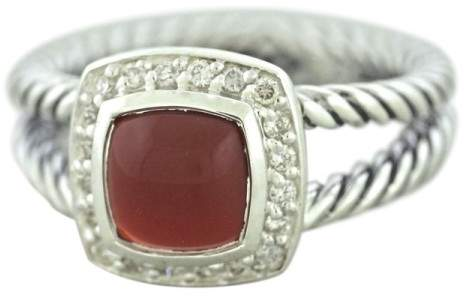 David Yurman Petite Albion 925 Sterling Silver with Carnelian & Diamond Ring Size 7