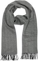 Lanvin Herringbone Pure Cashmere Men's Scarf W/Fringes