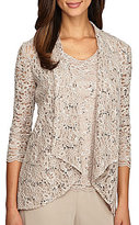 Alex Evenings 3/4-Sleeve Lace Twinset