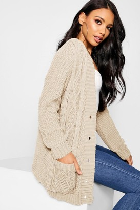 boohoo Cable Boyfriend Button Up Cardigan