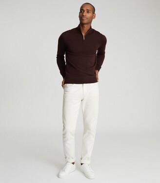 Reiss Blackhall - Merino Wool Zip Neck Jumper in Bordeaux