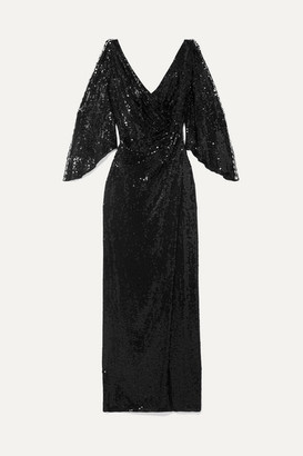 Jenny Packham Wrap-effect Cutout Sequined Tulle Gown - Black