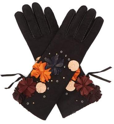 Agnelle Floral Applique Suede Gloves - Womens - Black