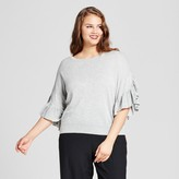 Who What Wear Women's Plus Size Frill Sleeve Sweater
