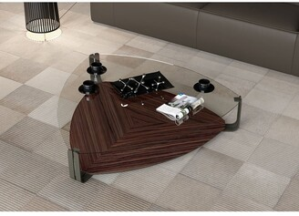 Modloft Crayford Coffee Table in Clear Glass and Rosewood