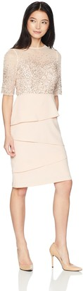 Adrianna Papell Women's Petite Short Dress with Beaded Bodice and Layered Skirt