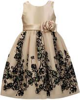 Sorbet Satin Dress w/Border-Flock Overlay, Size 7-12