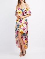 Charlotte Russe Floral Satin Off-The-Shoulder Dress