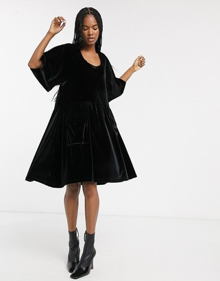 ASOS velvet smock dress with pockets