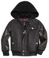 Urban Republic Boys' Wool & Faux Leather Varsity Jacket - Big Kid