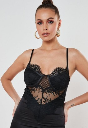 Missguided Black Stretch Satin Lace Cup Mini Dress