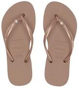 Havaianas Slim Crystal Swarovski(r) Flip-Flop (Toddler/Little Kid/Big Kid) (Rose Gold) Girls Shoes