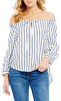 Copper Key Striped Off-The-Shoulder Smocked Tie-Neck 3/4-Sleeve Top