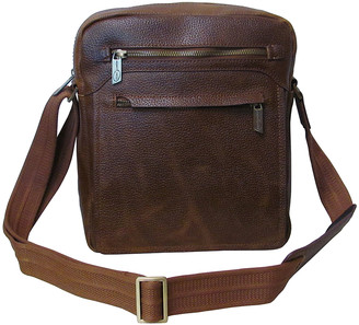 Amerileather Women's Handbags distressed - Brown Front-Flap Leather Messenger Bag