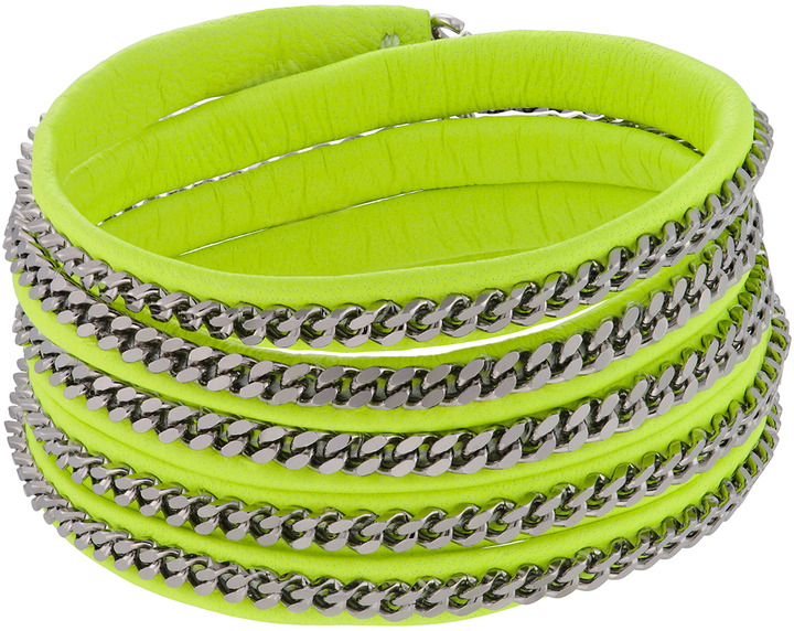 Vita Fede Neon Yellow Sterling Silver Plated Leather Cuff Capri 5 Wrap Bracelet