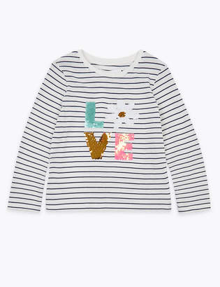 Marks and Spencer Striped Reversible Sequin Love Top (2-7 Years)