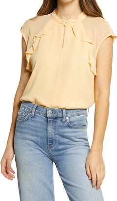 Vince Camuto Ruffle Detail Mock Neck Sleeveless Blouse