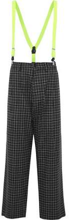 Y-3 Neon Faux Leather-Trimmed Checked Wool-Blend Pants