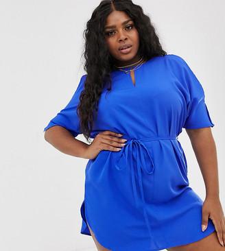 AX Paris Plus keyhole shift dress-Blue