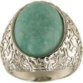 Ice 15 CT TGW Light Green Amazonite Polished Brass Vintage Oval Solitaire Fashion Ring