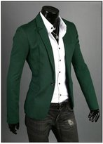 Amyove 2015 Fashion Tops Men Slim Fit Stylish Casual One Button Suit Coat Jacket Blazer Color:Grass green Size:CN XXL =(US/UK L)